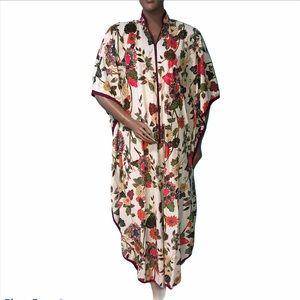 Vintage 70s boho Floral Caftan Dress Robe one size